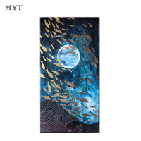 New arrived original Picture blue sky Flagship and moon White Line Designed Home Decoration Oil Painting On Canvas frameless