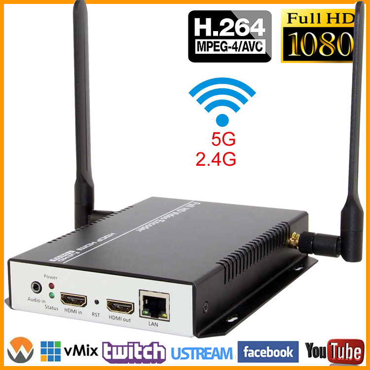 MPEG4 H.264 HDMI Video Audio a RTSP RTMP HTTP M3U8 Codificador de transmisión 1080P 1080I H.264 HD Video a IP Transmisor de corriente IPTV WiFi