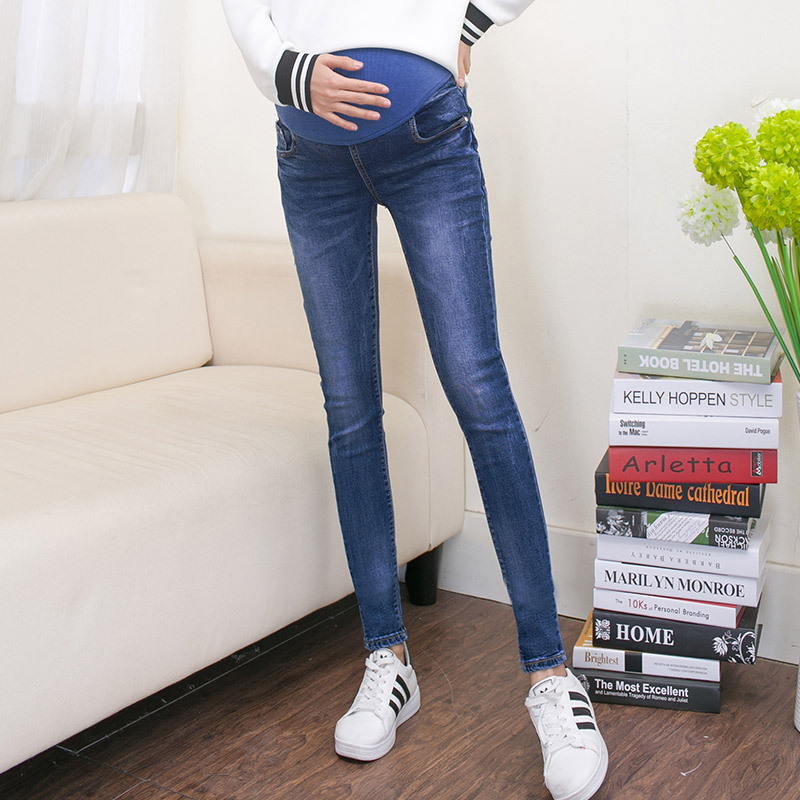 Pregnant Women Autumn Spring Elastic Pencil Denim Blue Pants Maternity Work Clothes Pregnancy Sexy Skinny Long Trousers Overalls sexy women denim light blue skinny jeans crochet lace party female carve flower pants for women plus size s 3xl clothing k096