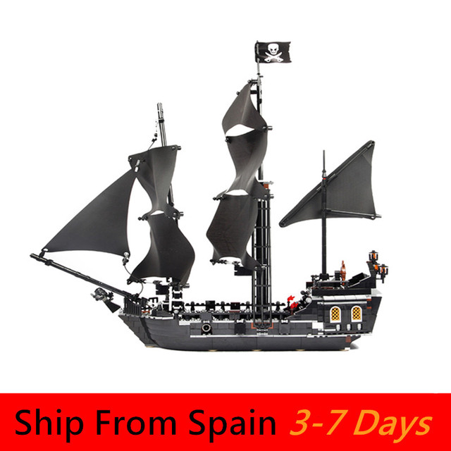 Movie Series Black Pearl Ship Model Queen Anne's Revenge Pirates Caribbean  Building Blocks Toys 4184 4195 10210