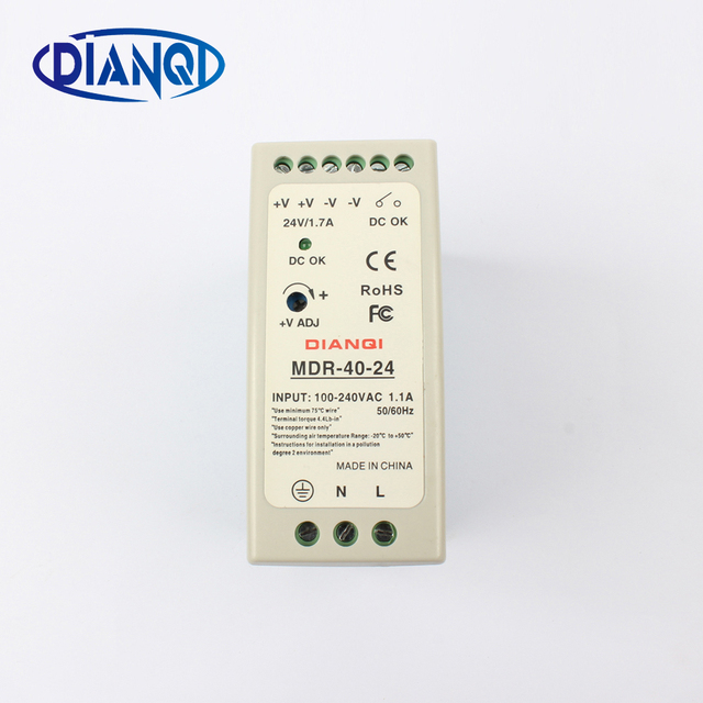 High quality din rail power supply switch MDR-40-24  40W 24V output DIANQI Switching