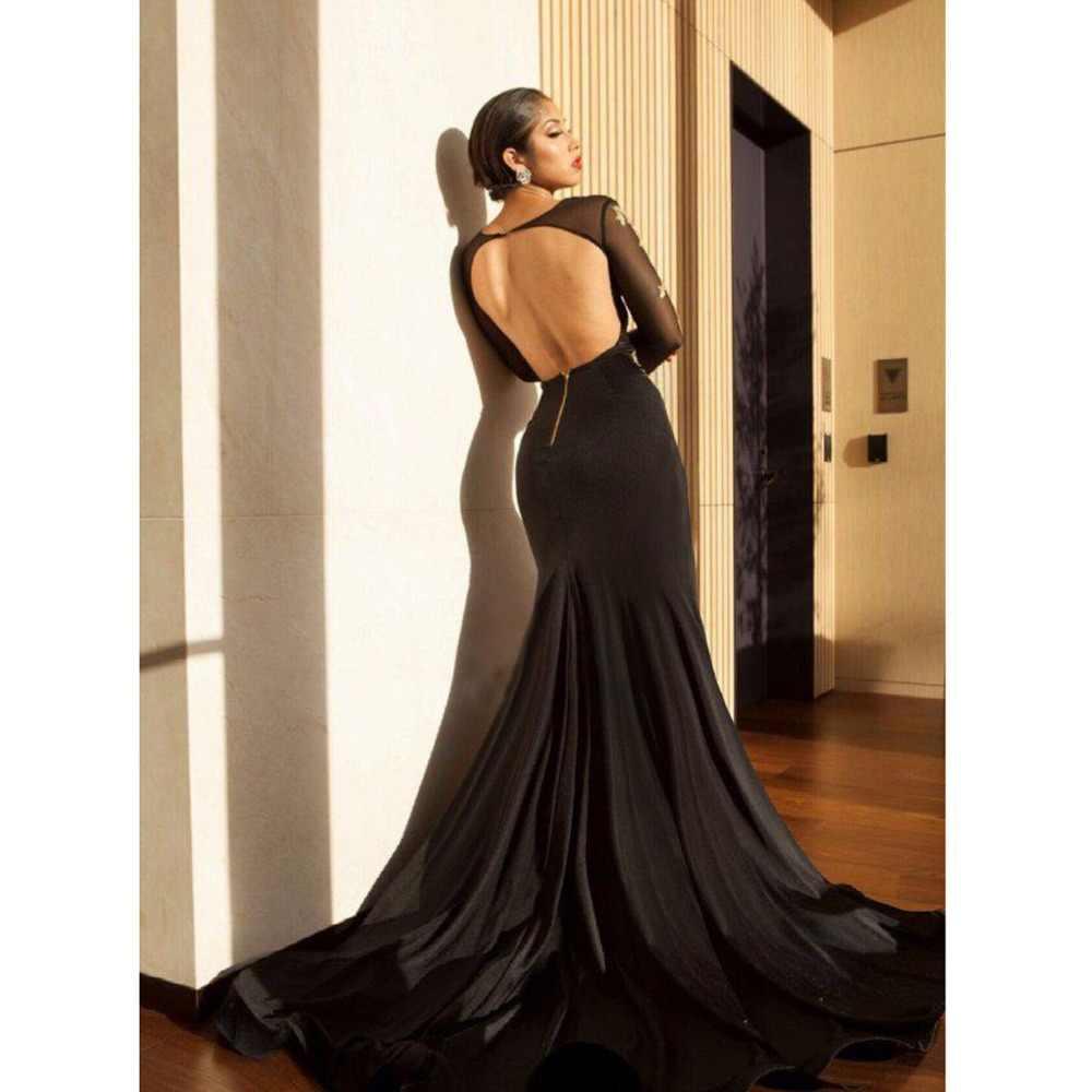 Abendkleider 2018 золотой вышивкой Черное вечернее платье Русалка Одежда с длинным рукавом пикантные высокий разрез Саудовская Арабский Формальное наряд для выпускного