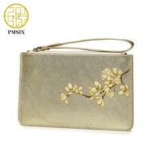 Pmsix 2017 Summer Cattle Split Leather Wallets And Purses Printing Zipper Brand Design Wristlets Clutch Bag Handbags 420039