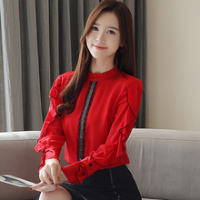 Womens Shirt Autumn New Fashion Chiffon Blouse Long Sleeve Ruffle Shirts Top Blusas 2019