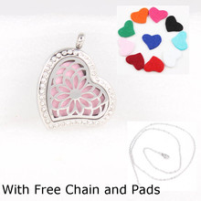 Free with Pads and Chain! 28*38mm Magnetic Tree Diffuser Locket Teardrop Silver 316L Stainless Steel Aromatherapy Necklace