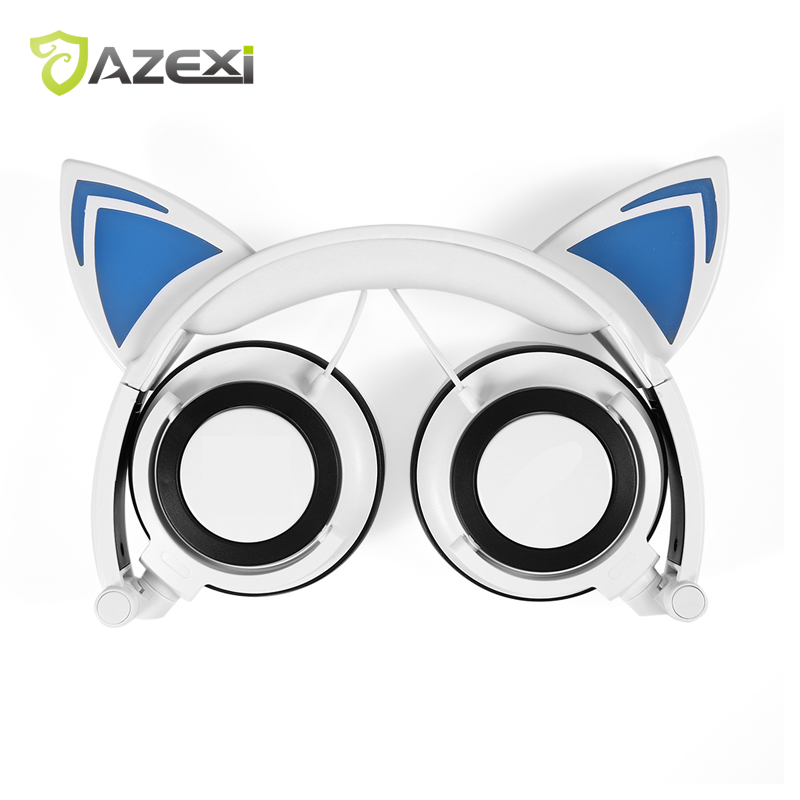 Fashion new Cat Ear Headphone with LED Glowing Lights Foldable Flashing Gaming Headset Earphone for PC Computer Mobile Phone each g8200 gaming headphone 7 1 surround usb vibration game headset headband earphone with mic led light for fone pc gamer ps4