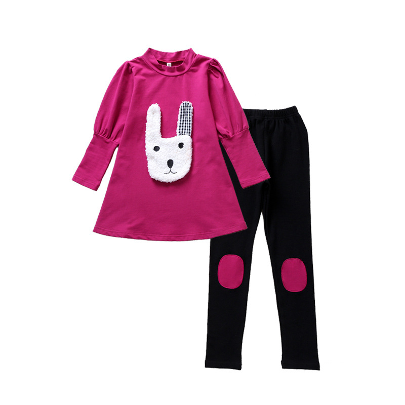 Children's clothing spring and autumn set 2018 New Kids cartoon long-sleeved shirt + pants 3-12 years old baby girl clothes