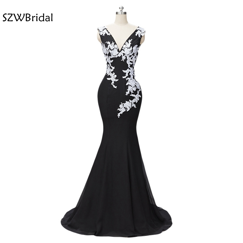New Arrival Black Evening dresses Long V Neck Lace Appliques Formal dress robe de soiree abendkleider evening gown 2019