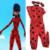 2016 Milagrosa niños Cosplay W Ojo Máscara Mariquita Mariquita mariquita traje de la muchacha Del Gato Del Mameluco Del Traje de Halloween Mujeres Zip Lycra