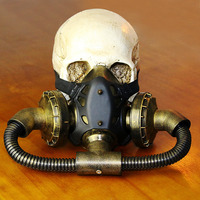 Gold / Black Vintage Military Pipeline Respirator Gas Mask Party Masks Steampunk Costume Accessories Gothic Anime Cosplay Prop