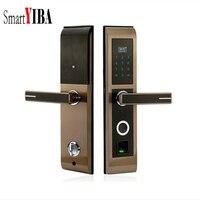 SmartYIBA Smart Lock пальцев замок светодиодный Дисплей клавиатуры замок без ключа разблокировки двери отпечатков пальцев + пароль + карт IC + ключ