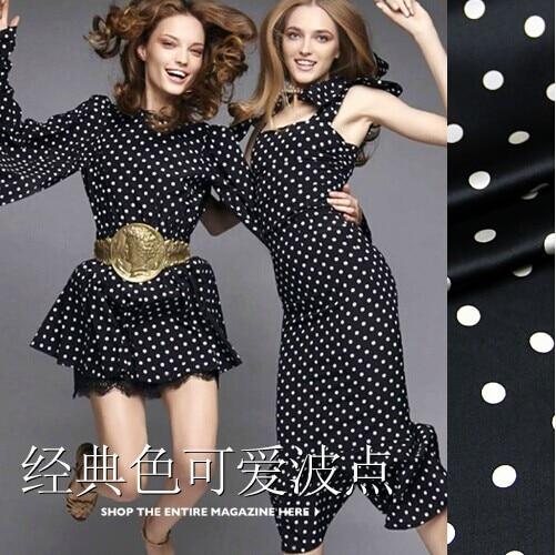 108cm wide 94 silk 6 spandex 19mm white dot print black elastic silk satin dress clothes