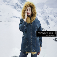 Funny Style Girls Lamb Fur Jean Jacket Warm Sheep Fur Gilet Liner With Jean Coat Top