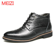 Genuine Cow Leather Pointed Toe Snow Boots for men winter new plush Lace-Up shoes male Black Brown solid colors Rubber shoes