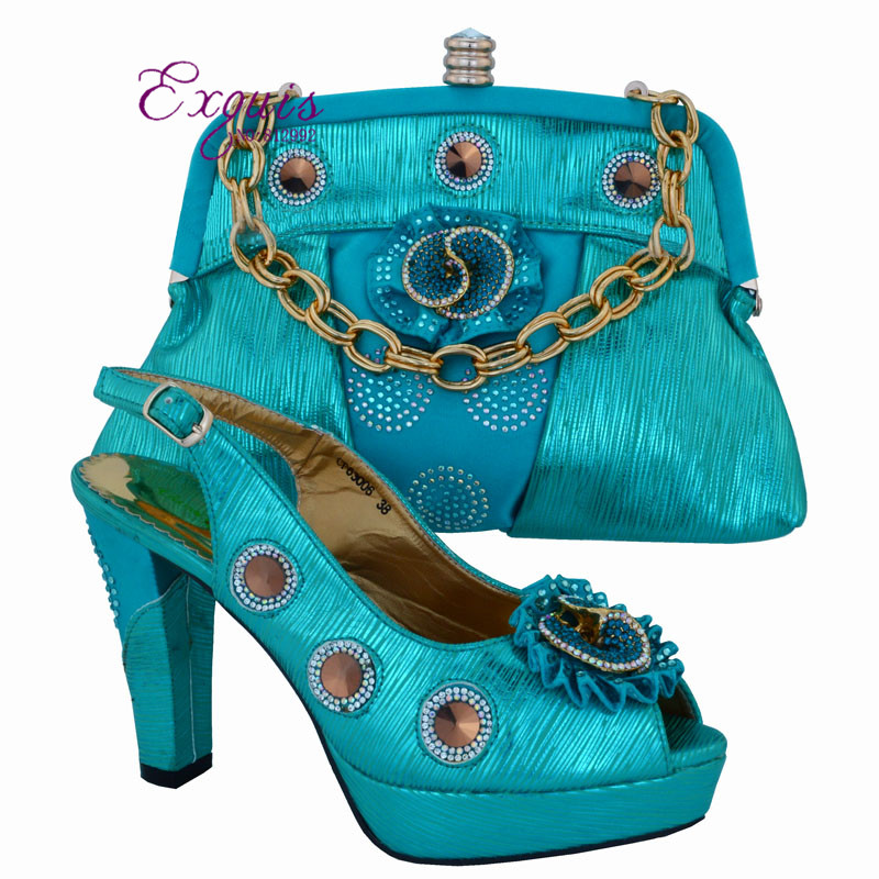 Sky blue High class party sets Italian design shoes and bag African sandal matching with handbag