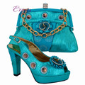 Sky blue,High class party sets Italian design shoes and bag African sandal matching with handbag sets for fashion lady CP63006