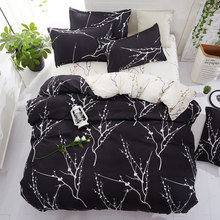 Home Textile 5size bedding set summer duvet cover set Pastoral flat sheet flower home decor duvet cover black white linens set57(China)