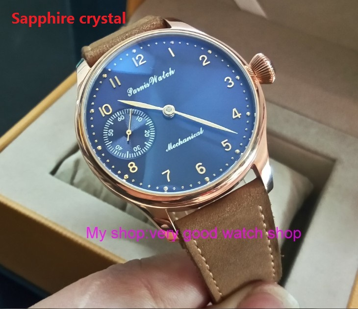 Sapphire crystal 44mm PARNIS blue dial 17 jewels Asian 6497/3600 Mechanical Hand Wind movement men's watch Rose gold case 392A sapphire crystal 2017 new fashion 44mm parnis asian 6497 3600 mechanical hand wind movement men s watch 6a
