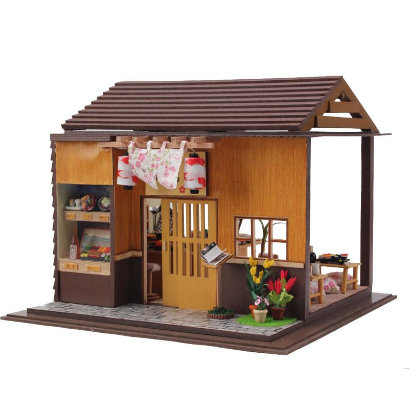 Gifts New Brand DIY Doll Houses Wooden Doll House Unisex dollhouse Kids Toy Furniture Miniature crafts free shipping 13827