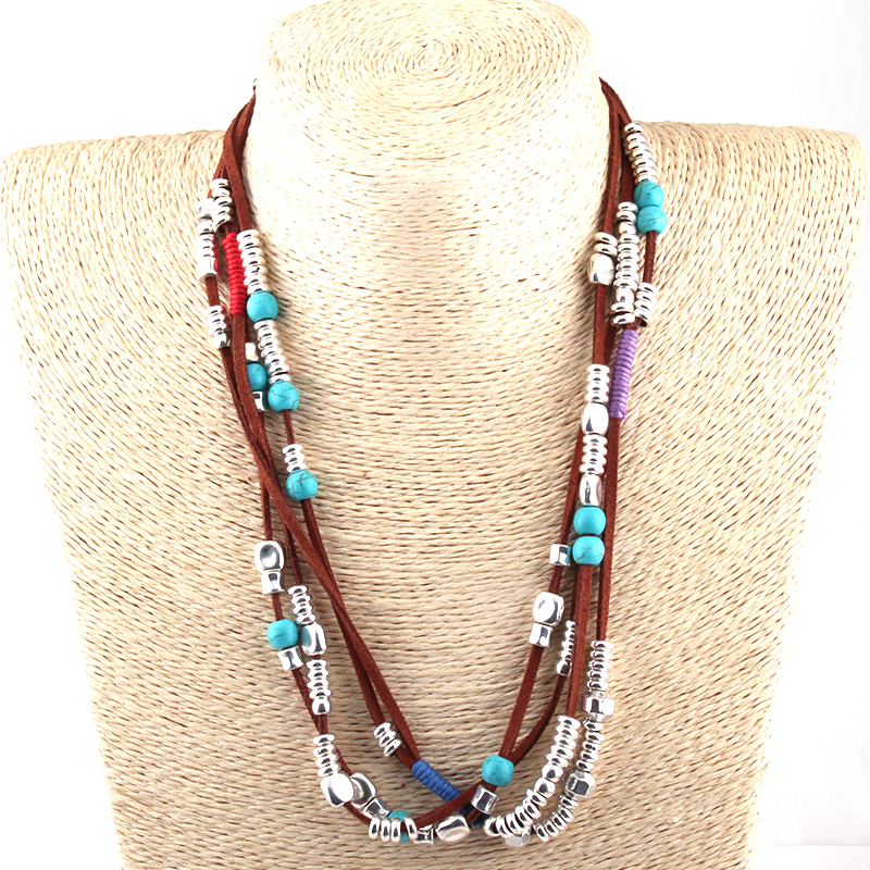 Free Shipping Fashion Brown Rope Metal Charm And Stone Beads Chokers Necklaces Women Ethnic Necklace