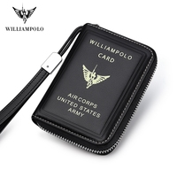 Williampolo Business Card Holder Genuine Leather Credit Card Holder Men Zipper Pocket Unisex Card Case Dropshipping 195187