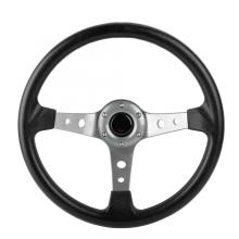 14in 350mm Universal Aluminum PU Leather Car Sport Racing Drift Steering Wheel Silver Auto Accessorie araba aksesuar