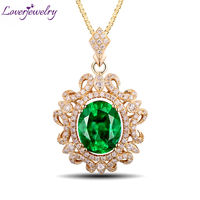 Elegant Queen Style Oval 8x10mm 14Kt Yellow Gold Natural Diamond Emerald Wedding Pendant WP048