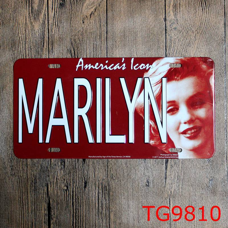 LOSICOE Vintage license plate MARILYN Metal signs home decor Office Restaurant Bar Metal Painting art 15x30 CM