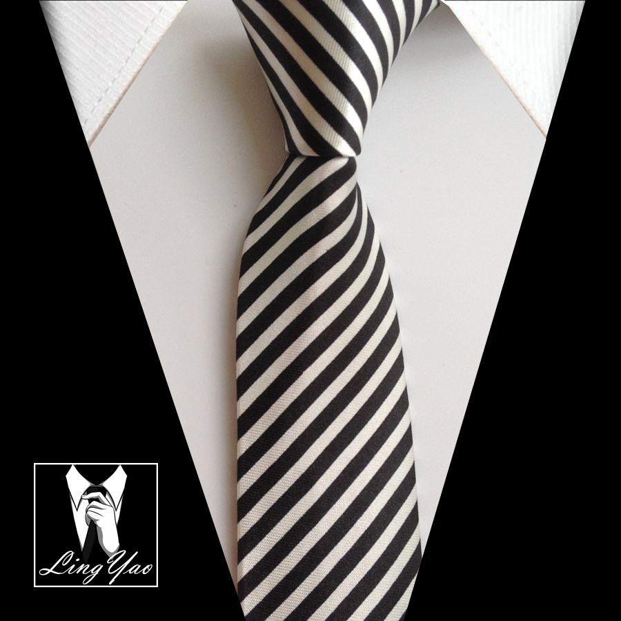 5cm Classic Narrow Ties Black With White Diagonal Stripes Neck Ties For Mens Necktie Wholesale