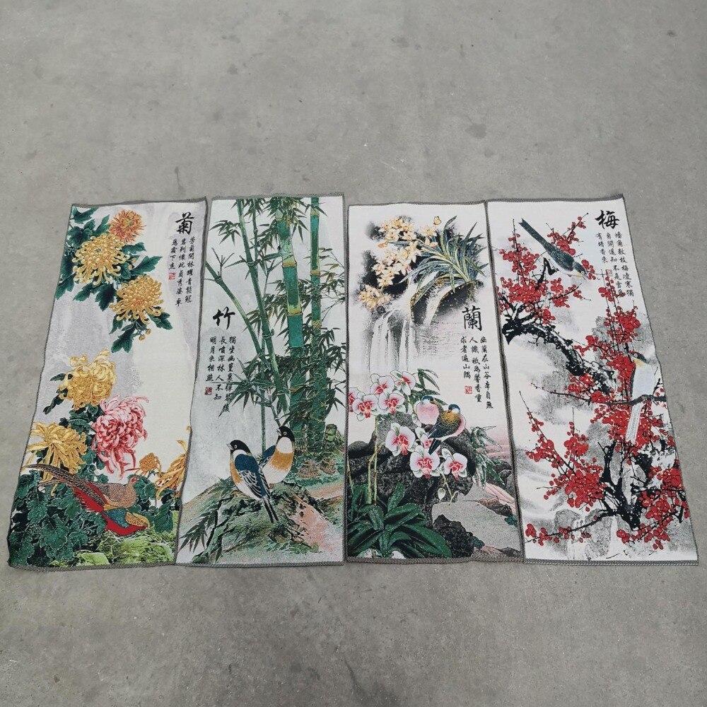 Cina schermo Four pittura Thangka ricamo ricamato arazzo di seta del ricamo mei lan zhu juCina schermo Four pittura Thangka ricamo ricamato arazzo di seta del ricamo mei lan zhu ju
