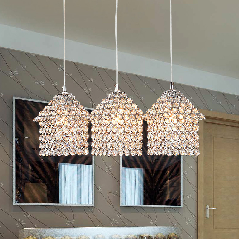 Simple modern dining room K9 crystal LED one heads three creative personality LED bar hanging lamp package post Pendant Lights simple modern geometric chandelier hollow iron dining room lamp one desk lamp three dining table lamp