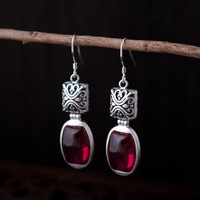 2 colors authentic 925 Sterling Silver Natural semi precious stones Vintage red corundum Earrings New Female Blue sand stone
