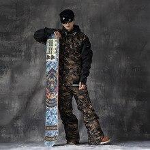 DOOREK Femmes Hommes Snowboard Camo Ski Veste Pantalon Imperméable À L'eau Chaude En Plein Air Camping Randonnée Snowboard Veste À Capuche Hommes combinaison de Ski