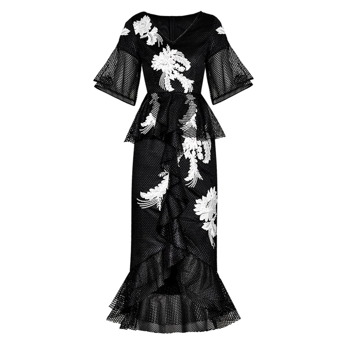 Red RoosaRosee Fashion Runway Designer Dress Summer Women Floral Embroidery Black Mermaid Dresses Sexy Party Vestidos