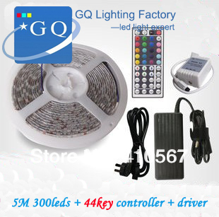 Flexible RGB LED Light Strip 12V 5050 SMD 300leds/5M  60leds/m WATERPROOF + 44Key IR REMOTE Controller+60w driver rgb led strip 5m 5050 non waterproof flexible light 44 keys ir remote dc12v power adapter high brightness led strip light