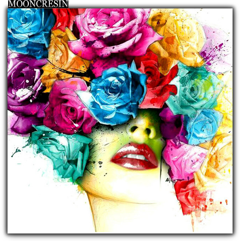 5D Diy Diamond Painting Cross Stitch Woman With Face Flowers Needlework 3D Diamond Embroidery Full Round Mosaic Decoration Resin in Diamond Painting Cross Stitch from Home Garden