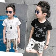 Korean Cotton Boys T Shirt Fashion Stars Tee Shirts White Black O-Neck Summer Short Sleeve Kids Infant Clothing 2-14 Years boy