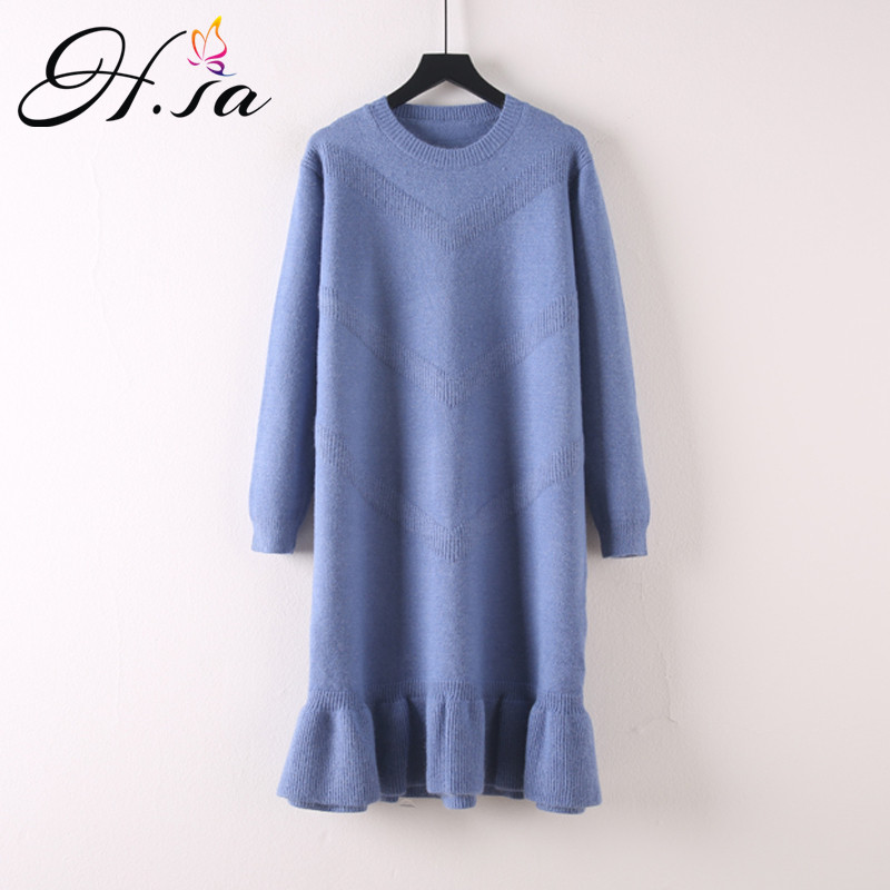 H.SA Winter New Fashion 2018 Women Long Sweater Dresses Ruffels Long Pullover And Sweaters Oneck Loose Knit Sweater Vestidos Top