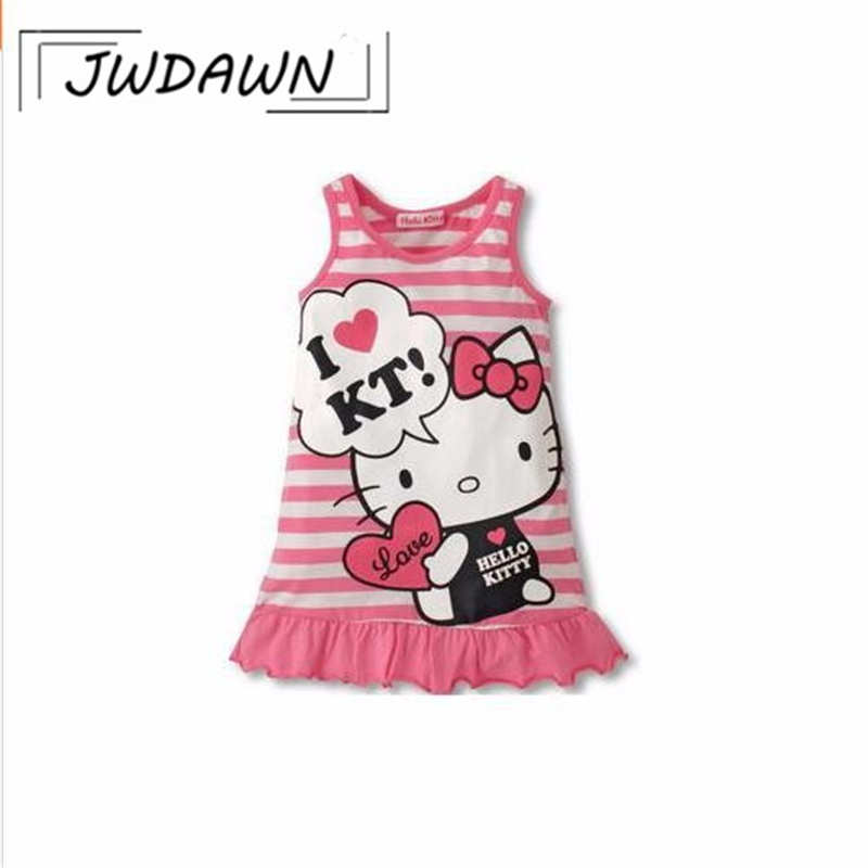 Cute Brand Children Dress Hello Kitty Minnie Summer Girl Dress Sleeveless Dresses For Girls Costume Party Princess Vestidos girl clothes vestidos roupas infantil meninas vestir children s kid clothing brand polk dot party dresses minnie costume
