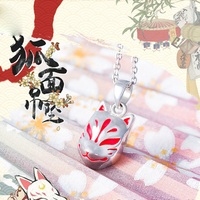 Japanese Anime Fox Mask Pedant 925 Silver Necklace 1.4*1.0cm Japan Myth Jewelry Woman Birthday Gift