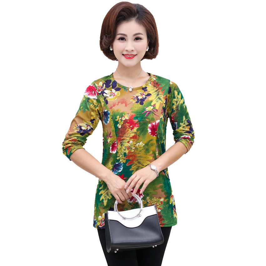 Chinese Woman Autumn Blouses Flower Tops Women Basic Tunic Round Collar Long SLeeve Blouse Lady Plus Size Leisure Top Mother 4XL 2