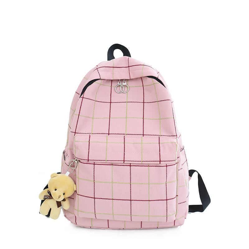 Mały, świeży, Plaid, płótno, panie, plecak, nowy, moda, wysokiej jakości, torba studencka, przypadkowy, dziki, duży, pojemność, podróż, plecak