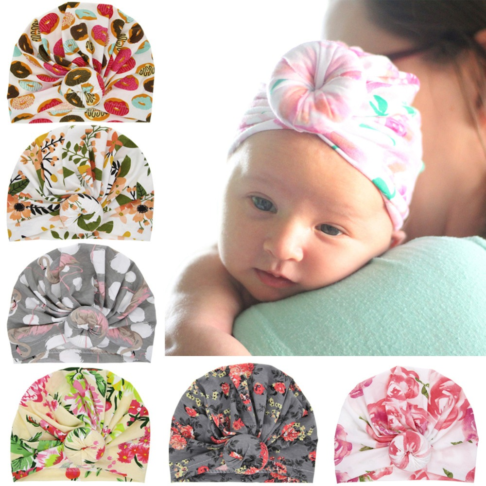 Puseky Newborn Baby Toddler Print Hat Baby Girl Knotted Hat Cute Donut Turban Bow Cap Beanie Top Knot Kids Photo Props Consumers First Boys' Baby Clothing