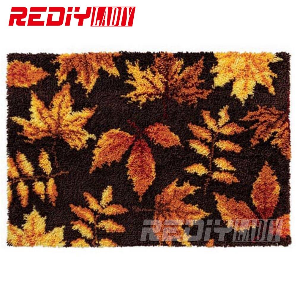 DIY Carpet Rug Autumn Leaves Latch Hook Rug Kits 3D Crocheting Tapestry 100 Acrylic Yarn Cushion