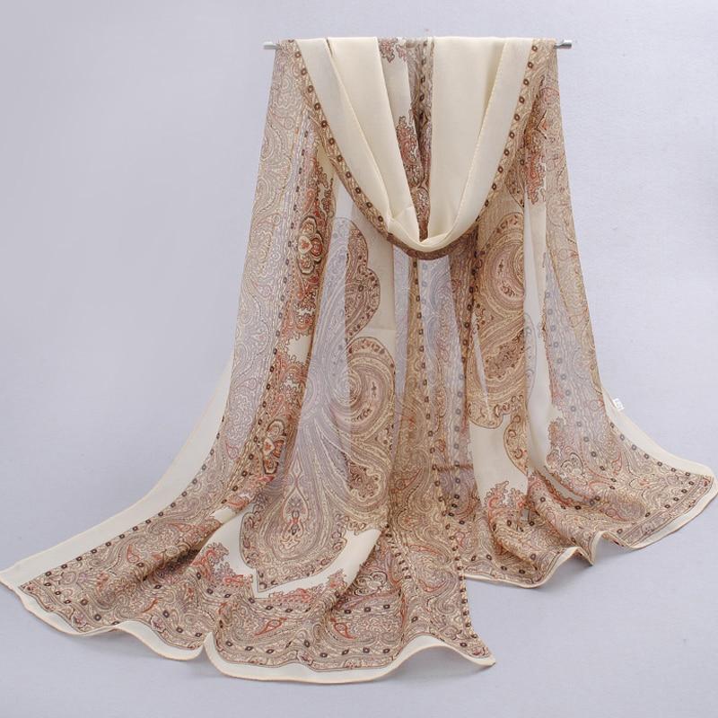 Národní 2019 nwe letní šátek polyesterové samice Silk šály Ručně malované dlouhé Tisk květ Podzimní zimní pásy Pashmina FQ016