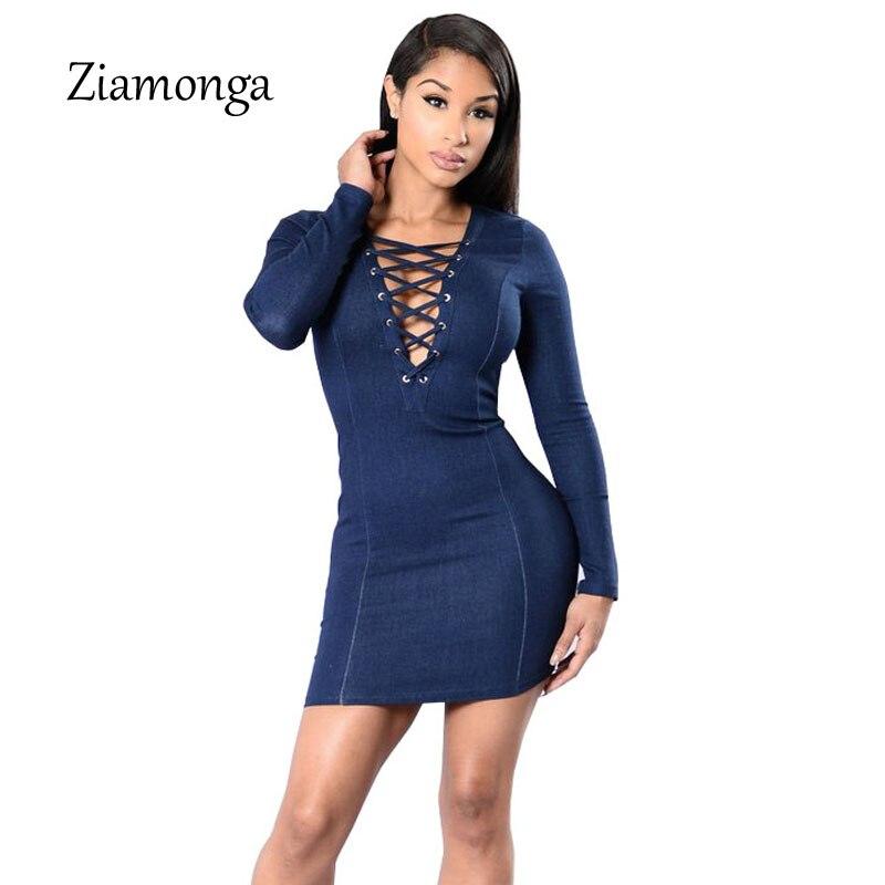 Ziamonga Denim Dress 2017 Autumn Winter Long Sleeve Lace Up Bodycon Dress  Elegant Ladies Jeans Casual Dress Vestidos Femininos-in Dresses from Women s  ... 83d44f8e1