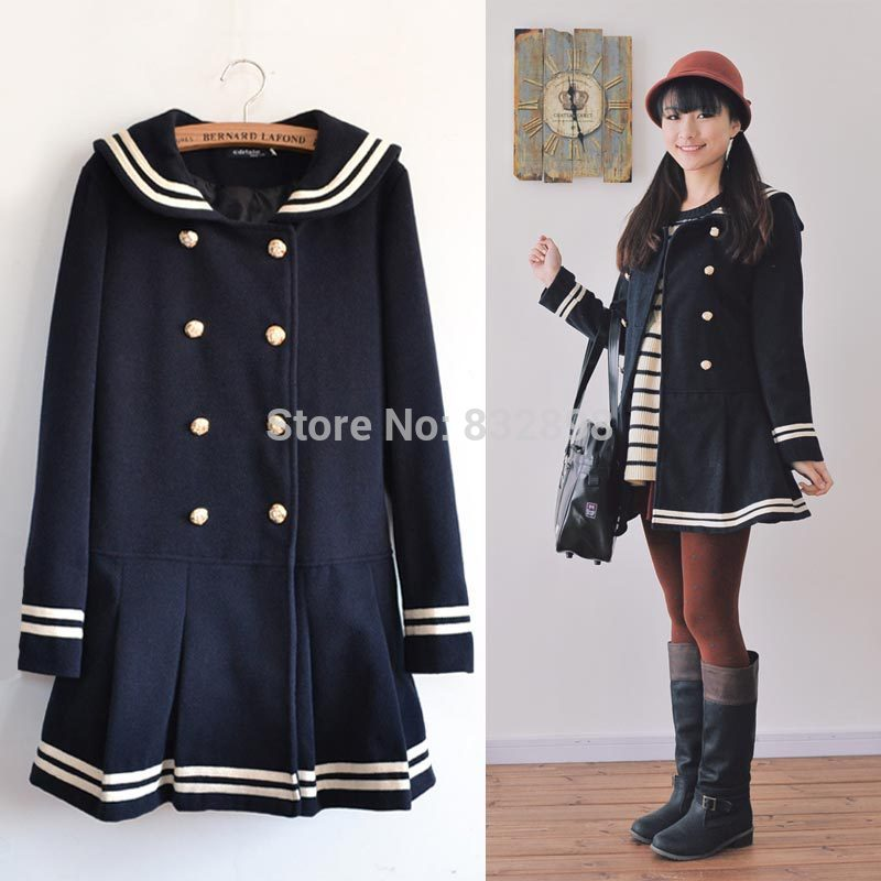 808b900e5714 Sweet Double-Breasted Deep Blue Winter Coat Sailor Style Wool Coat Girls  Winter Coats