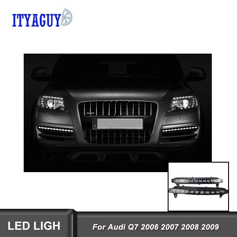 2 adet 12V LED gündüz farı Audi için fit Q7 2006 2007 2008 2009 sarı dönüş sinyali araba DRL su geçirmez araba DRL sis lambası