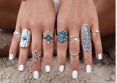 New Arrival 9pcs/Set Vintage Punk Ring Set 2017 Antique Silver Plated Lucky Rings For Women Fashion Bohemian Beach rings set