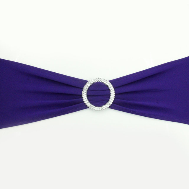 Purple Chair Sashes For Weddings White Covers Canada 50pcs 38 Dark Spandex Band With Buckle Sash